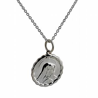 Silver 16mm round Our Lady of Sorrows with Fancy edge Pendant with a rolo Chain 22 inches