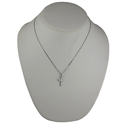 9ct White Gold 21x15mm plain with embossed border Cross with a curb Chain 20 inches