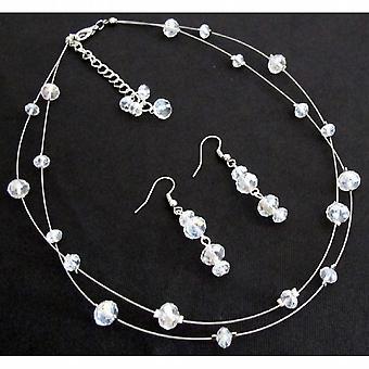 Brude brudepike AB krystaller Glass perler flytende halskjede øredobber