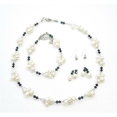 Jet Crystals Necklace & Earrings Set Fashion Freshwater Pearls Jewelry