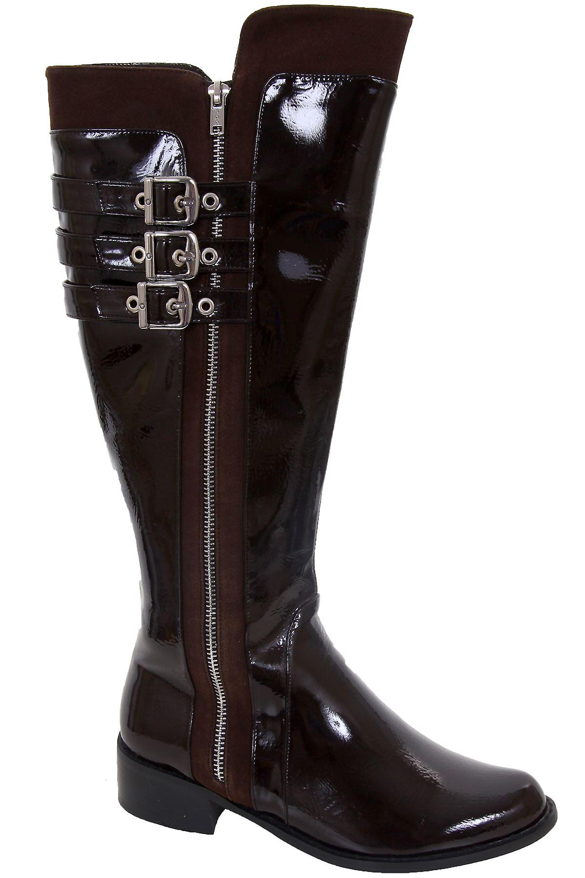 Ladies Patent Triple Buckle Strap Low Heel Women's Knee High Boots Shoes