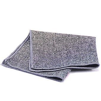 Grey & black weave tweed look wool men's pocket square