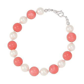 Eternal Collection Duet Coral And Shell Pearl Silver Tone Bracelet