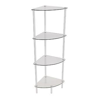 Corbin - 4 Tier Glass Corner Storage / Display Shelves - White