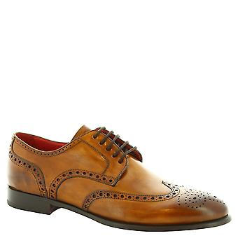 Leonardo Shoes Men's handmade wingtip Oxford brogues in sienna calf leather