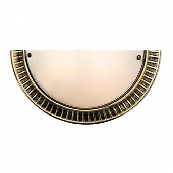 Endon 61236 Brahm Frosted Glass Wall Light in Antique Brass Finish