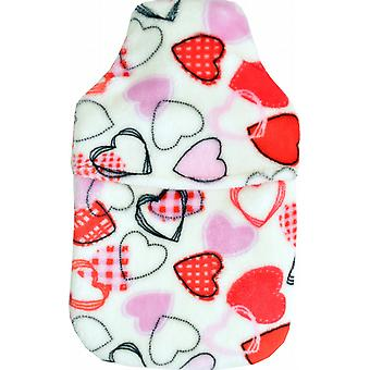 Cuddlesoft Plush Fleece 2L Hot Water Bottle: Multi Hearts
