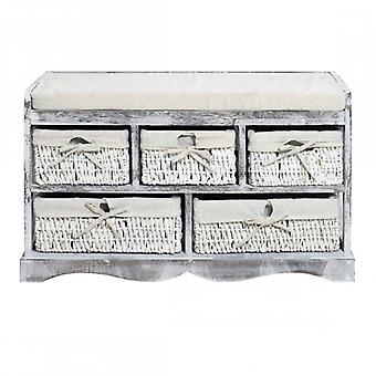 REBECCA Furniture Bench Drawer light grey 5 drawers wicker sitting kitchen living room