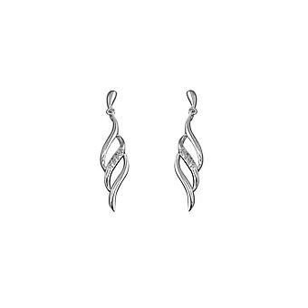 Eternity Sterling Silver Cubic Zirconia Flame Drop Earrings