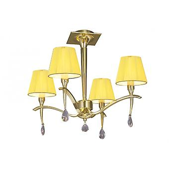 Mantra Siena Semi Ceiling Round 4 Light E14, Polished Brass With Amber Cream Shades And Clear Crystal