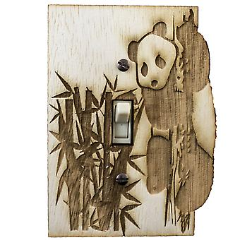 Panda switch plate - raw wood - 3.6