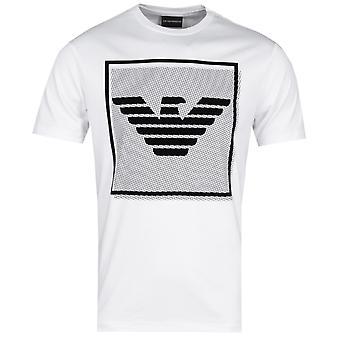 Emporio Armani Square Eagle logo Crew hals hvit T-skjorte