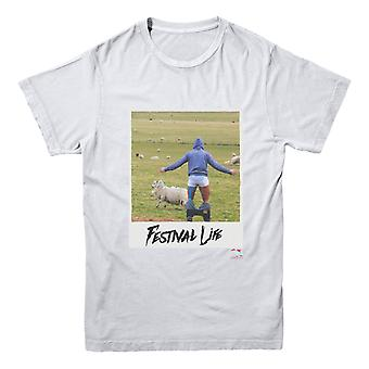 A Festival Cow branded tee. Printed message