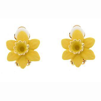 Clip On Earrings Store Gold Plated & Matt Yellow Enamel Daffodil Flower Clip On
