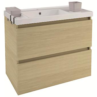 Bath+ Sink cabinet 2 drawers Oak Gloss 80CM