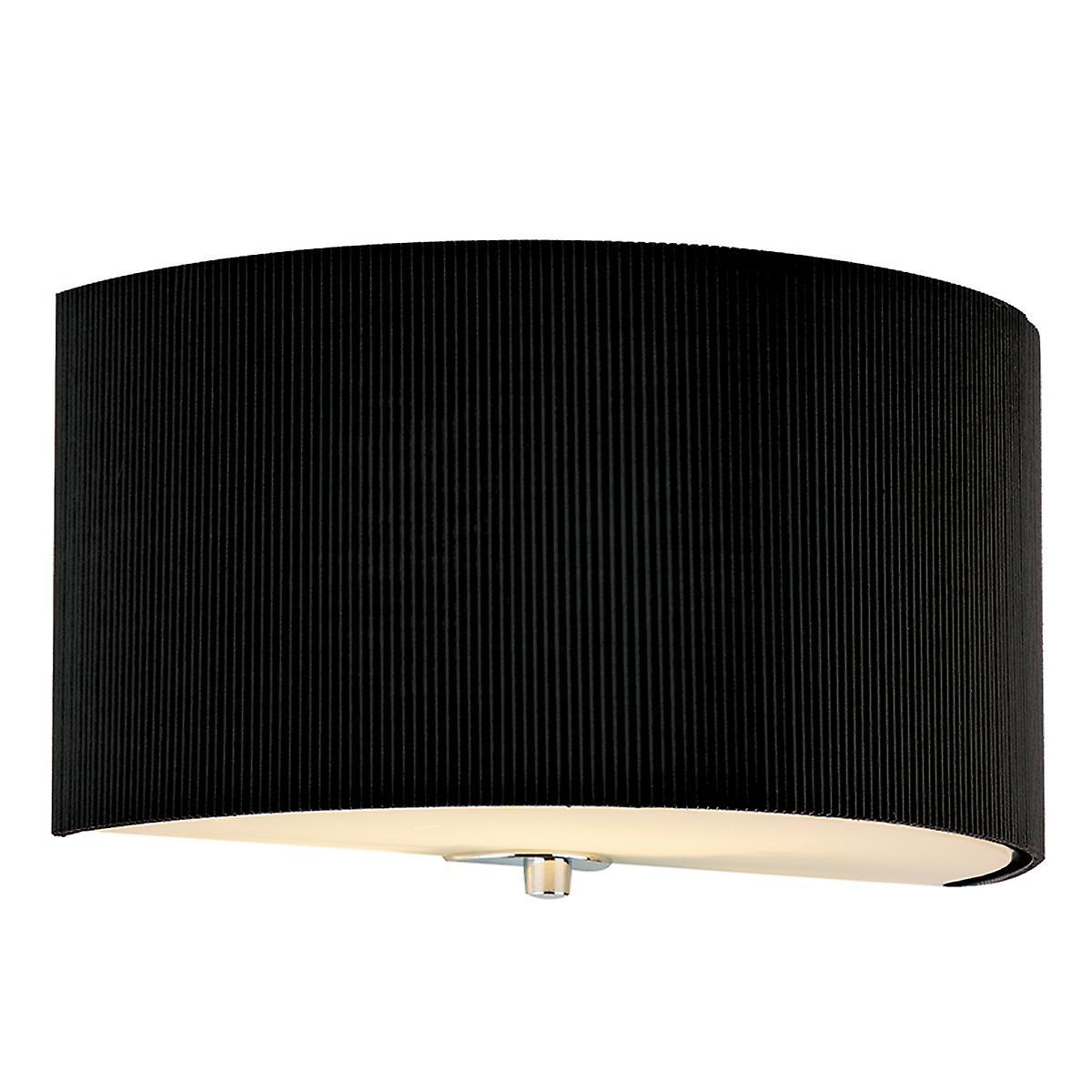 Dar ZAR0122 Zaragoza Black Cotton Micro Pleat Wall Light