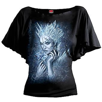 Spiral Direct Gothic ICE QUEEN - Boat Neck Bat Sleeve Top Black Plus Size|Roses|Vixen|Mystical|UnDead