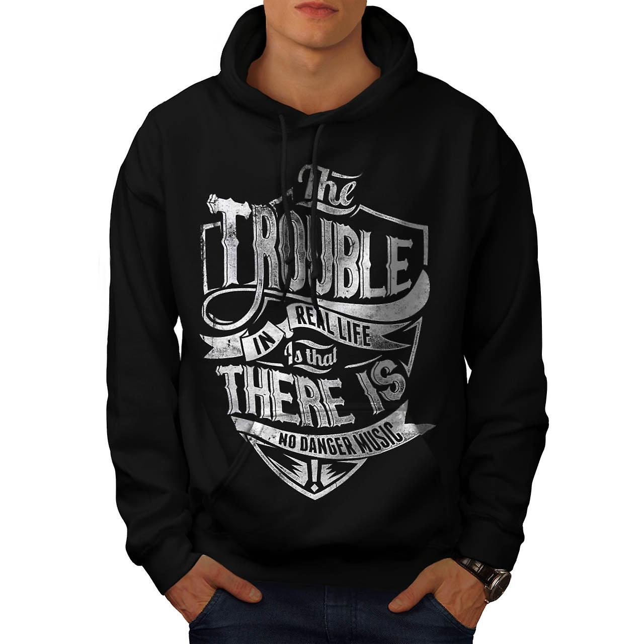 La vie réelle Danger Tune Music battu hommes Black Hoodie | Wellcoda