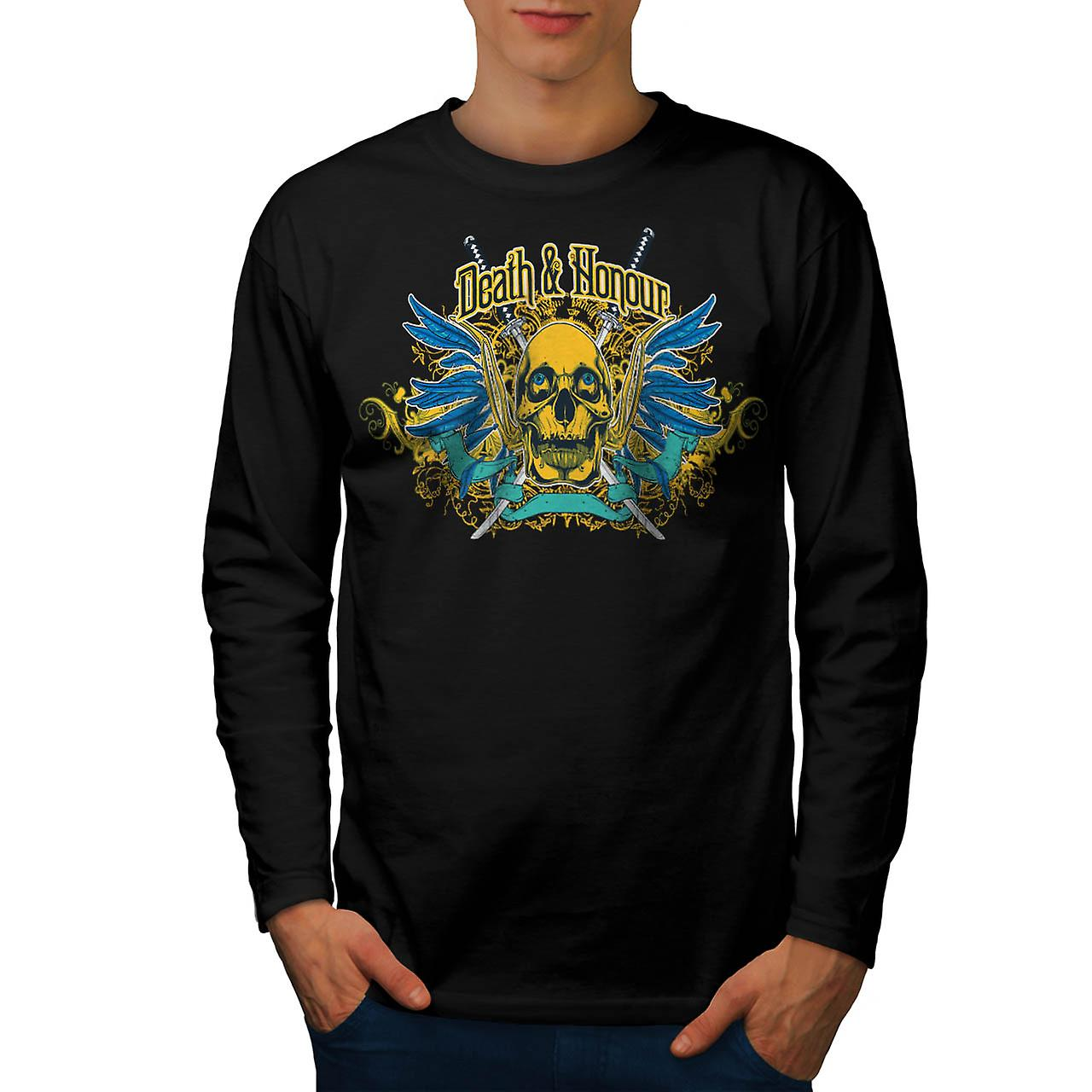Death Honour Biker Skull Men Black Long Sleeve T-shirt | Wellcoda