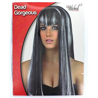 Halloween Dead Gorgeous White/Black Vampire Fringed Wig Fancy Dress Accessory