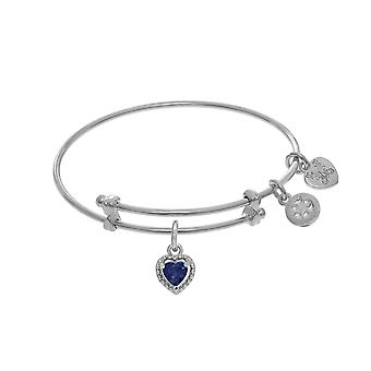 September Heart Shape CZ Birthstone Charm Expandable Tween Bangle Bracelet