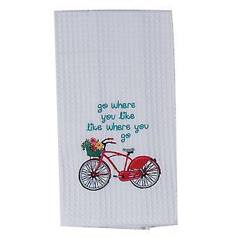 Red Bike Go Where You Like Embroidered Waffle Weave Kitchen Dish Towel