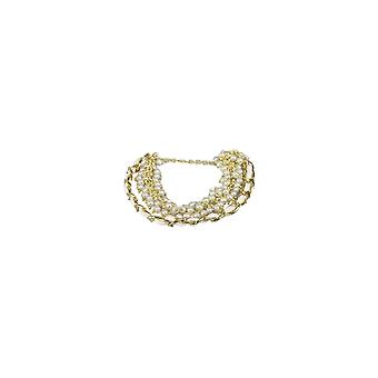 Gold Chain And White Pearl Bracelet With Clasp