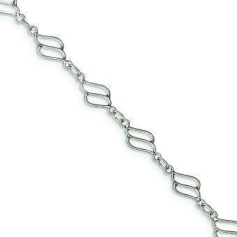 En argent massif fantaisie bracelet de cheville poli - bague élastique - Durée: 9 à 10