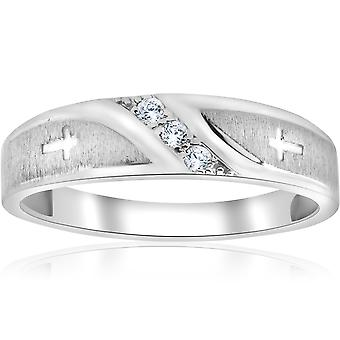 1/10 ct Mens Diamond Cross Wedding Anniversary Ring 10K White Gold