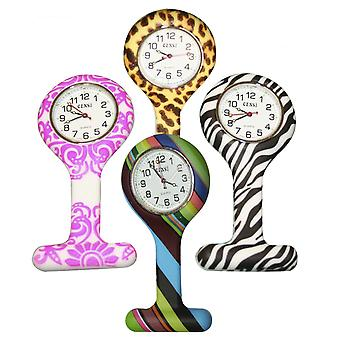 Color de moda de enfermeras con motivos Fob relojes de goma silicona Control de infección
