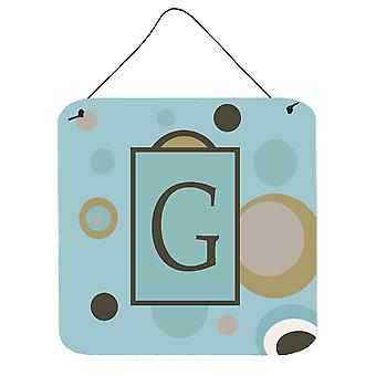 Letter G Initial Monogram - Blue Dots Wall or Door Hanging Prints