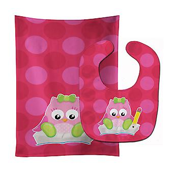 Carolines Treasures  BB9029STBU Back to School Girl Bird Baby Bib & Burp Cloth