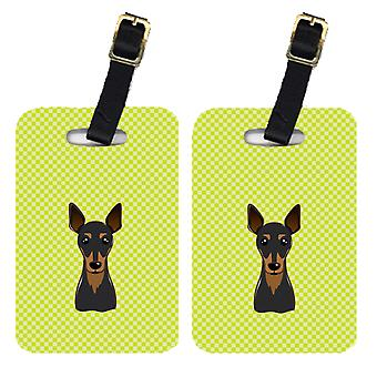 Pair of Checkerboard Lime Green Min Pin Luggage Tags