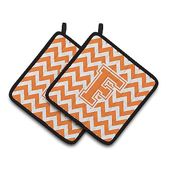 Letter F Chevron Orange and White Pair of Pot Holders