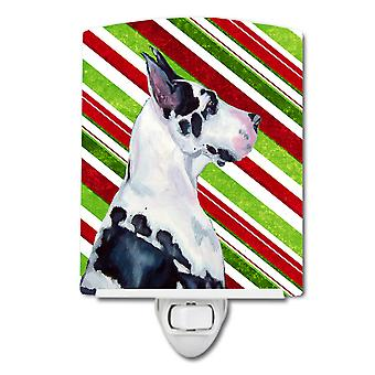 Great Dane Candy Cane Holiday Christmas Ceramic Night Light