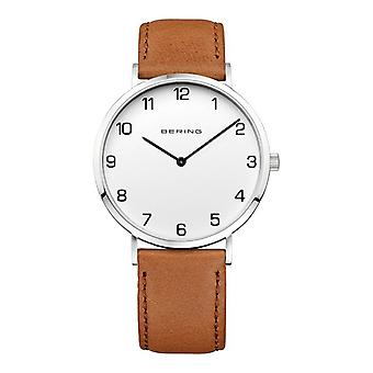 Bering men's slim - 13940-504 leather wristwatch watch