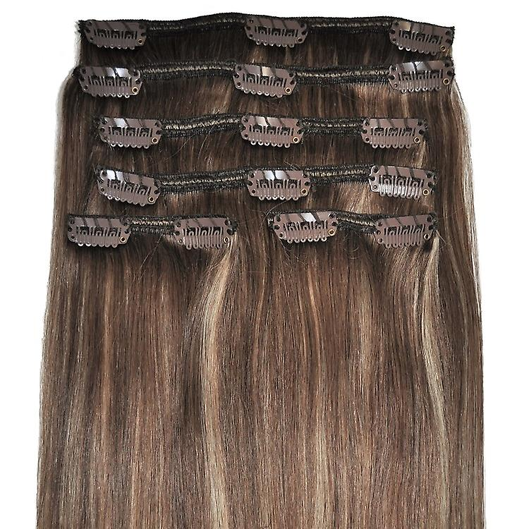 #6/18 - Brown, Brünette, Blonde Bronde, Luxus, voller Kopf, echte Clip-in Hair Extensions - 100 % Remy, dreifach Schuß, dicken Menschenhaar