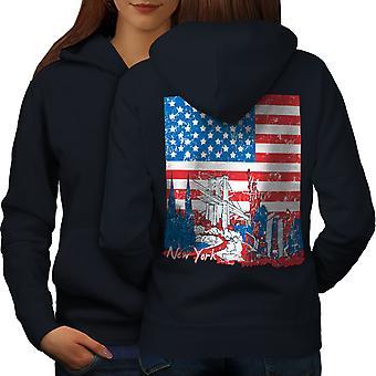 Flag America New York USA Women NavyHoodie Back | Wellcoda