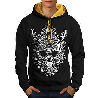 Fashion Art Flower Skull Men Black (Gold Hood) Contrast Hoodie | Wellcoda