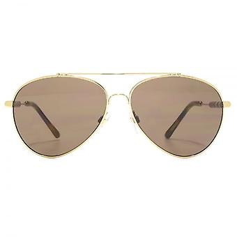 Burberry Fabric Temple Pilot Sunglasses In Light Gold Brown