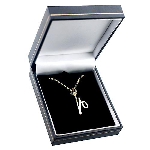 9ct Gold 26x23mm plain Initial V Pendant with a belcher Chain 16 inches Only Suitable for Children