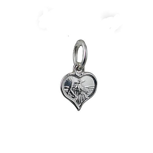 Silver 8mm heart St Christopher Pendant or Charm