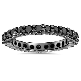 1ct Black Diamond Eternity Wedding Ring 14K Black Gold