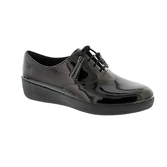 FitFlop Classic Tassel Super Oxford - All Black Patent (Man-Made) Womens Shoes Various