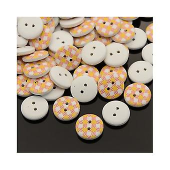 Packet 20 x Yellow/Pink Wood 15mm Round 2-Holed Patterned Sew On Buttons HA14125