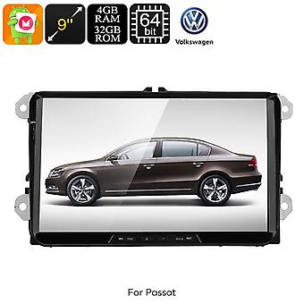 2 DIN Car Stereo VW Passat - 9-Inch HD Display, Android 8.0, Bluetooth, WiFi, 3G, Google Play, CAN BUS, Octa-Core CPU, GPS
