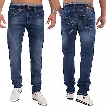 Men Slim Tapered Jeans Denim dark blue jeans pants stretch