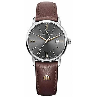 Maurice Lacroix Womens Eliros Brown Leather Strap Black Dial Gold Accents EL1094-SS001-311-1 Watch