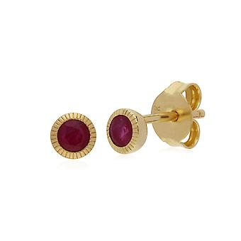Gemondo 9ct Yellow Gold Ruby Single Stone Round Milgrain Stud Earrings