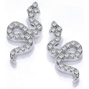 Cavendish French Snake Cubic Zirconia Earrings - Silver